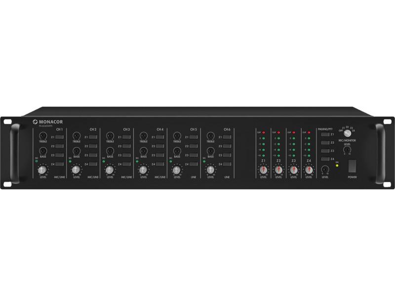 Monacor PA-6040MPX 4-zone rack mixer 6-kanalen